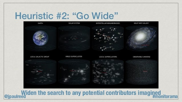 """Heuristic #2: """"Go Wide"""" Widen the search to any potential contributors imagined @jpaulreed #monitorama"""