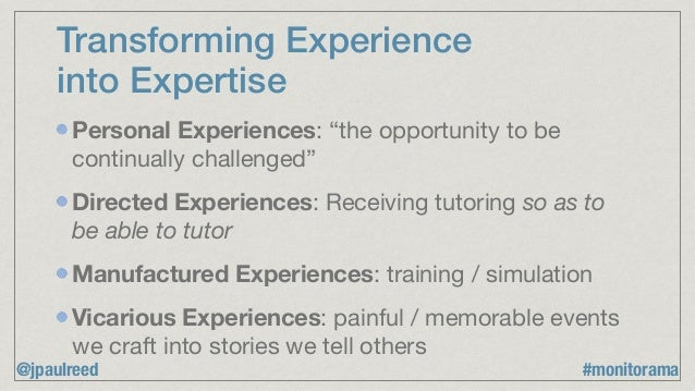 """Transforming Experience into Expertise Personal Experiences: """"the opportunity to be continually challenged""""  Directed Expe..."""