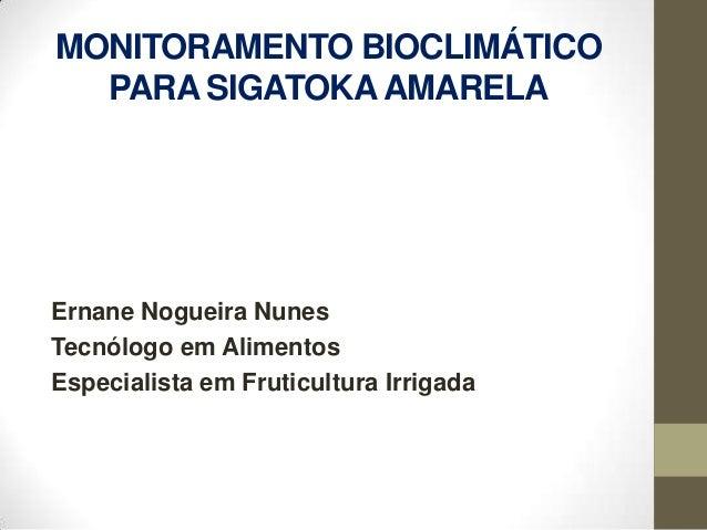 MONITORAMENTO BIOCLIMÁTICO  PARA SIGATOKA AMARELAErnane Nogueira NunesTecnólogo em AlimentosEspecialista em Fruticultura I...
