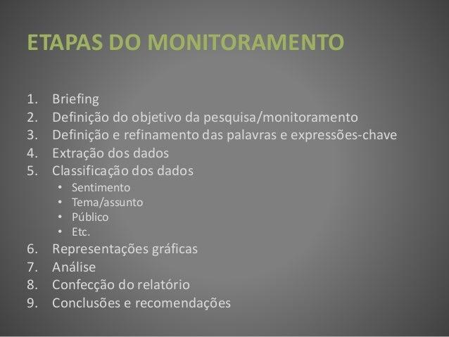 1. Briefing 2. Definição do objetivo da pesquisa/monitoramento 3. Definição e refinamento das palavras e expressões-chave ...