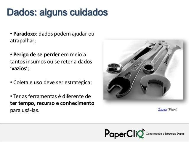 Dados: alguns cuidados• Paradoxo: dados podem ajudar ouatrapalhar;• Perigo de se perder em meio atantos insumos ou se rete...