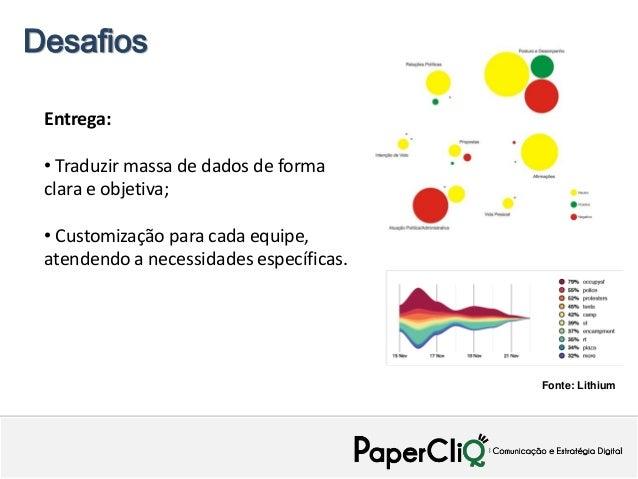 Desafios Entrega: • Traduzir massa de dados de forma clara e objetiva; • Customização para cada equipe, atendendo a necess...