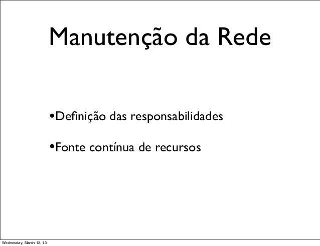 Manutenção da Rede                          •Definição das responsabilidades                          •Fonte contínua de re...