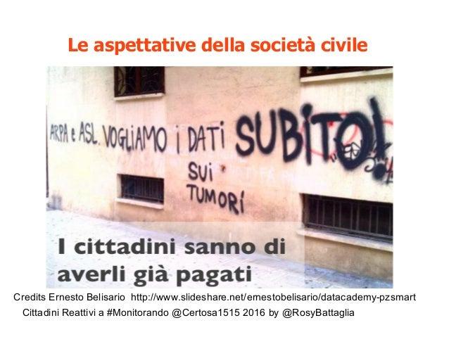 Cittadini Reattivi a #Monitorando @Certosa1515 2016 by @RosyBattaglia Le aspettative della società civile Credits Ernesto ...