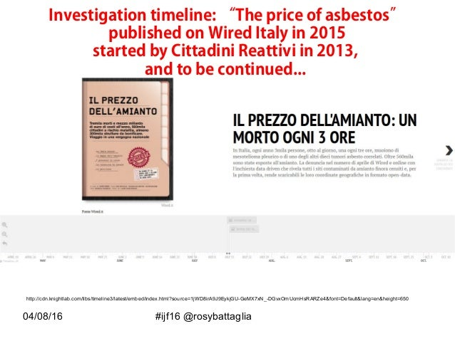 """04/08/16 #ijf16 @rosybattaglia Investigation timeline: """"The price of asbestos"""" published on Wired Italy in 2015 started by..."""
