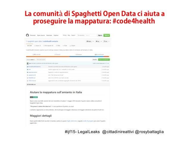 #ijf15- LegalLeaks @cittadinireattivi @rosybattaglia La comunit di Spaghetti Open Data ci aiuta aà proseguire la mappatura...