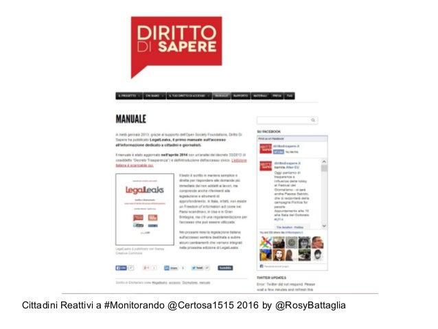 Cittadini Reattivi a #Monitorando @Certosa1515 2016 by @RosyBattaglia