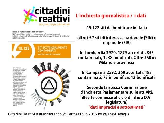 Cittadini Reattivi a #Monitorando @Certosa1515 2016 by @RosyBattaglia L'inchiesta giornalistica / i dati 15 122 siti da bo...