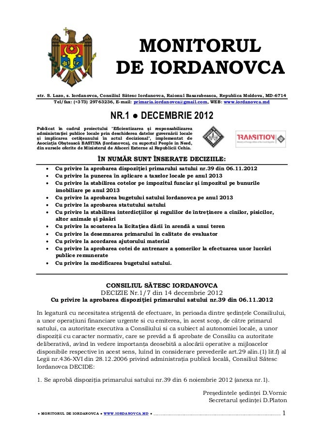 MONITORUL                                     DE IORDANOVCAstr. S. Lazo, s. Iordanovca, Consiliul Sătesc Iordanovca, Raion...
