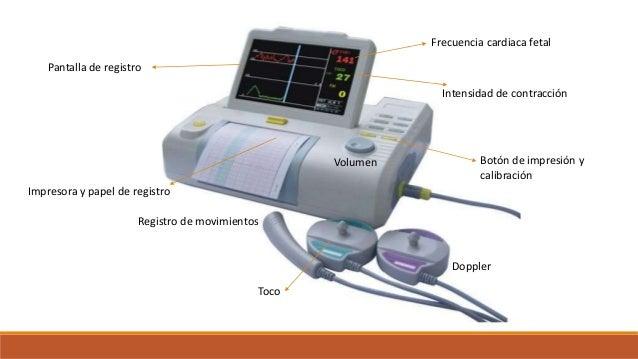Doppler Toco Registro de movimientos Botón de impresión y calibración Volumen Impresora y papel de registro Pantalla de re...