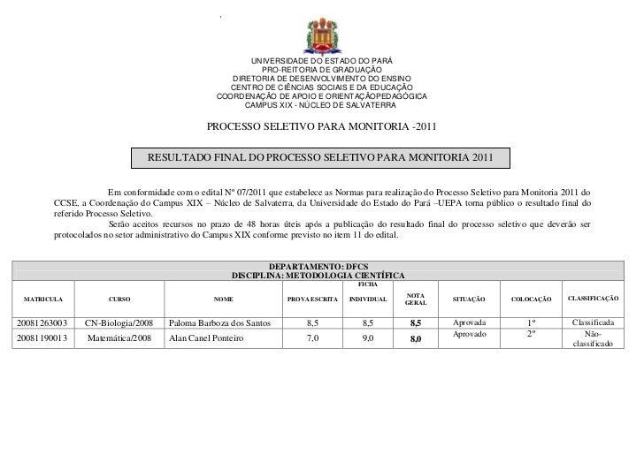 UNIVERSIDADE DO ESTADO DO PARÁ                                                          PRO-REITORIA DE GRADUAÇÃO         ...