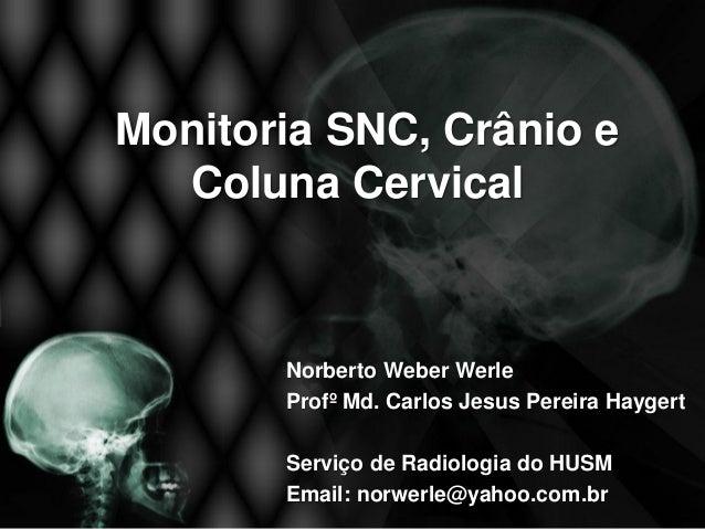 Monitoria SNC, Crânio e  Coluna Cervical       Norberto Weber Werle       Profº Md. Carlos Jesus Pereira Haygert       Ser...