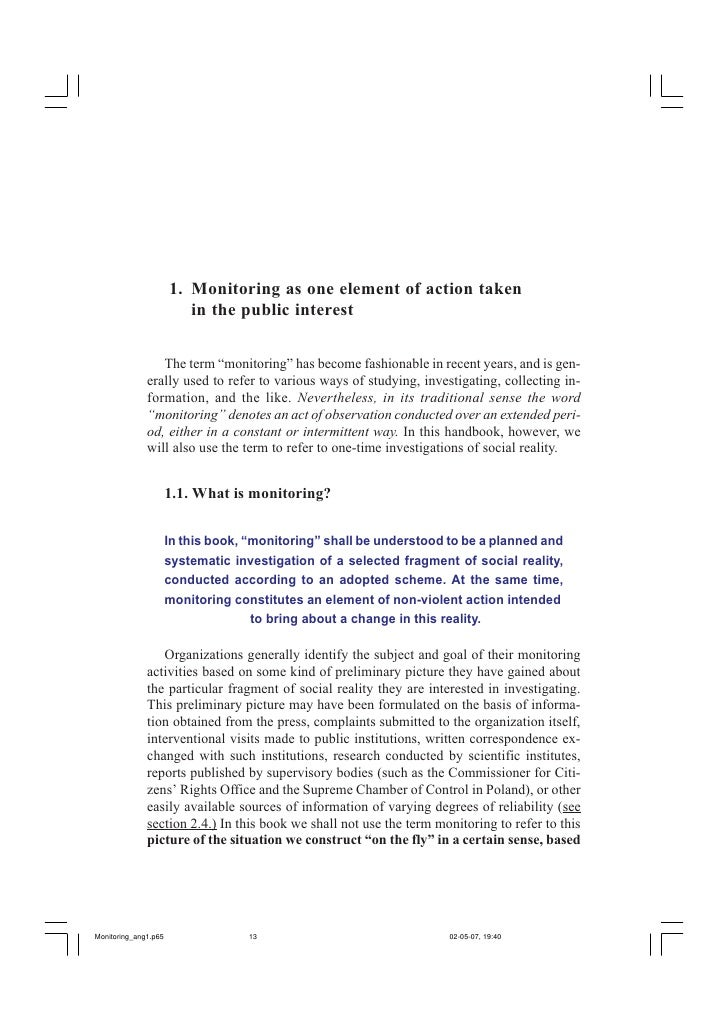 Monitoring as one element of action taken in the public interest             13         1. Monitoring as one element of ac...