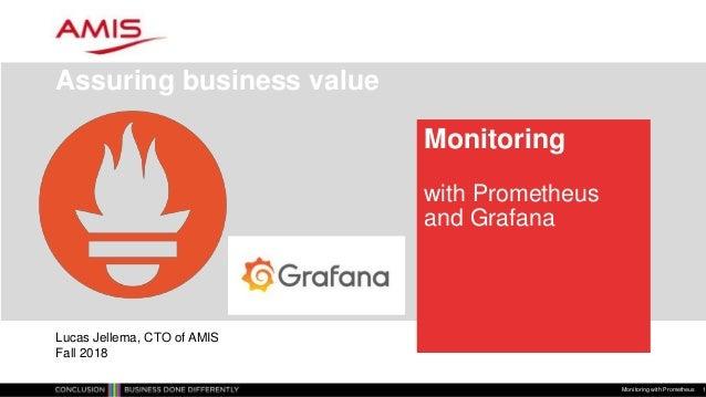 Monitoring with Prometheus and Grafana Assuring business value Monitoring with Prometheus 1 Lucas Jellema, CTO of AMIS Fal...
