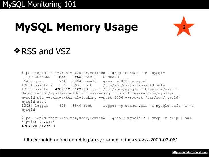 MySQL Monitoring 101      MySQL Memory Usage                                                           2       ❖ RSS and V...