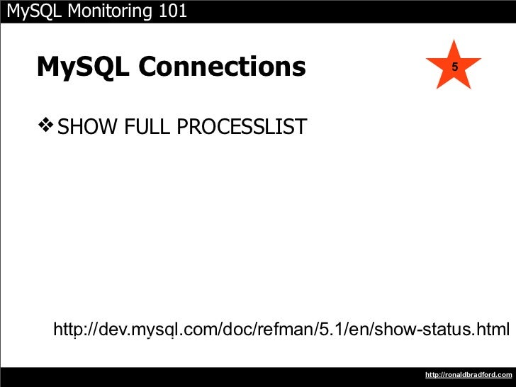 MySQL Monitoring 101      MySQL Connections                                    5        ❖ SHOW FULL PROCESSLIST          h...