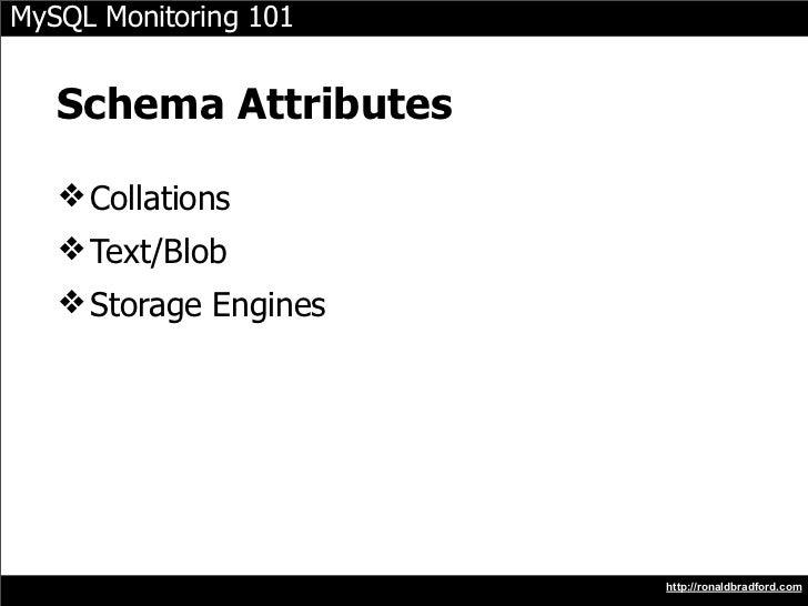 MySQL Monitoring 101      Schema Attributes     ❖ Collations    ❖ Text/Blob    ❖ Storage Engines                          ...