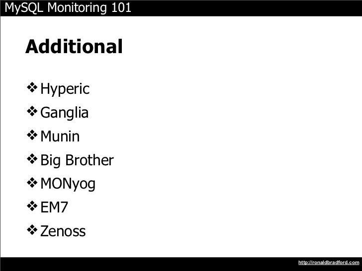 MySQL Monitoring 101      Additional     ❖ Hyperic    ❖ Ganglia    ❖ Munin    ❖ Big Brother    ❖ MONyog    ❖ EM7    ❖ Zeno...