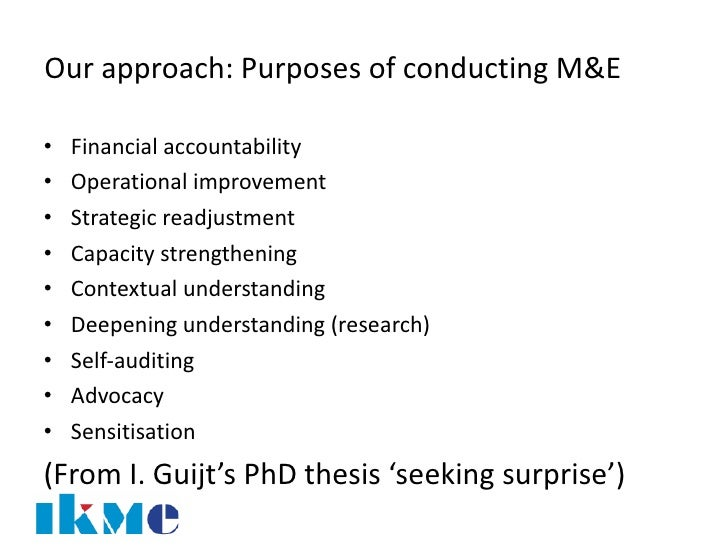 Phd thesis on monitoring and evaluation