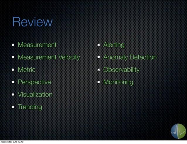 ReviewMeasurementMeasurement VelocityMetricPerspectiveVisualizationTrendingAlertingAnomaly DetectionObservabilityMonitorin...