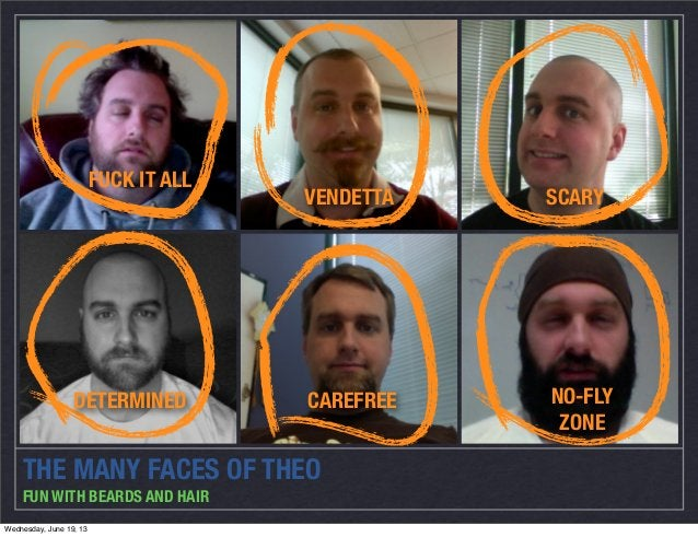 THE MANY FACES OF THEOFUN WITH BEARDS AND HAIRFUCK IT ALLVENDETTA SCARYDETERMINED CAREFREE NO-FLYZONEWednesday, June 19, 13