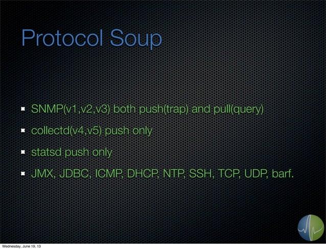 Protocol SoupSNMP(v1,v2,v3) both push(trap) and pull(query)collectd(v4,v5) push onlystatsd push onlyJMX, JDBC, ICMP, DHCP,...