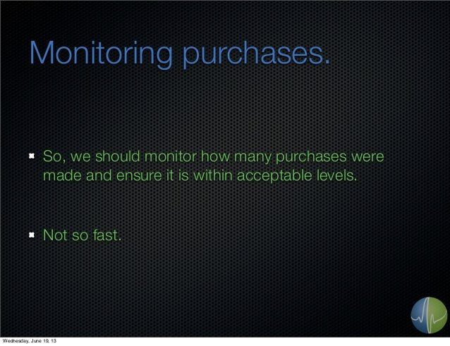 Monitoring purchases.So, we should monitor how many purchases weremade and ensure it is within acceptable levels.Not so fa...