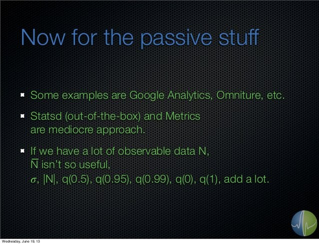 Now for the passive stuffSome examples are Google Analytics, Omniture, etc.Statsd (out-of-the-box) and Metricsare mediocre...