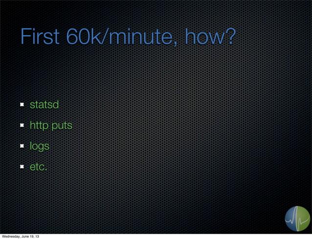 First 60k/minute, how?statsdhttp putslogsetc.Wednesday, June 19, 13
