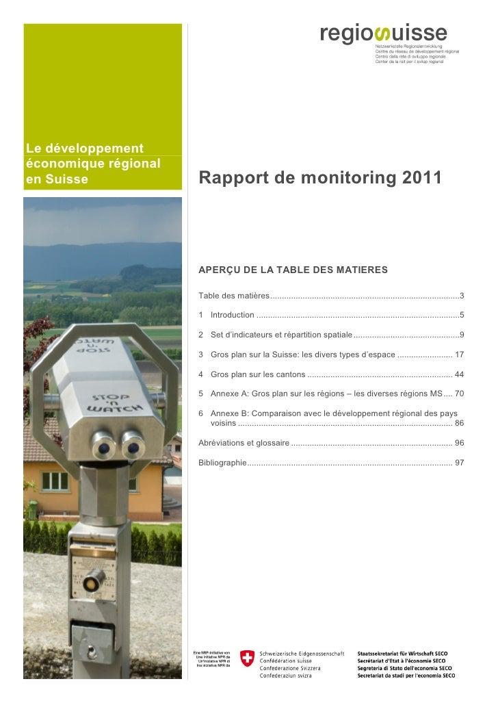 Le développementéconomique régionalen Suisse             Rapport de monitoring 2011                      APERÇU DE LA TABL...