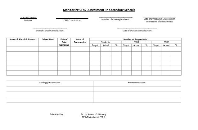 Monitoring CFSS Assessment in Secondary Schools                                                                           ...