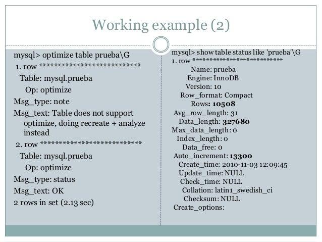 ... 18. Working Example (2) Mysqlu003e Optimize Table ...