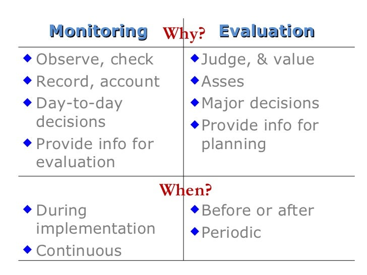 why m e 34 why when monitoring evaluation