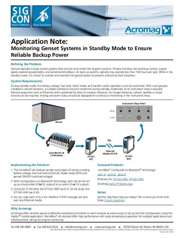 Application Note: Monitoring Genset Systems in Standby Mode to Ensure Reliable Backup Power Defining the Problem: Gensets ...
