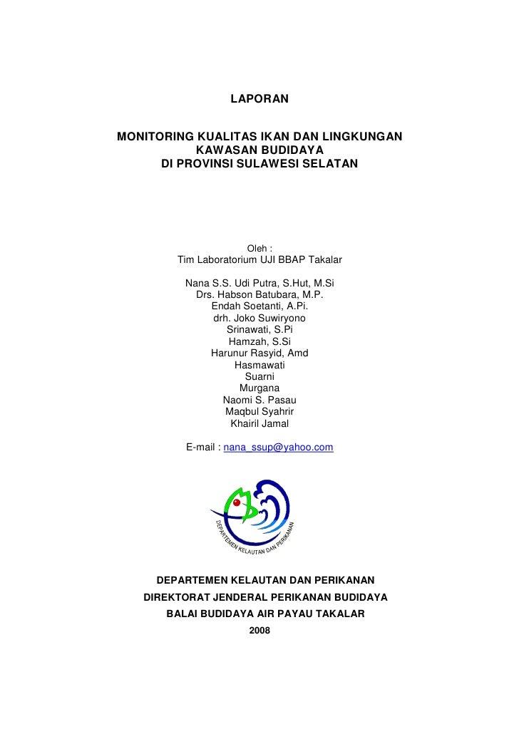 Monitoring Kualitas Ikan Dan Lingkungan Kawasan Budidaya