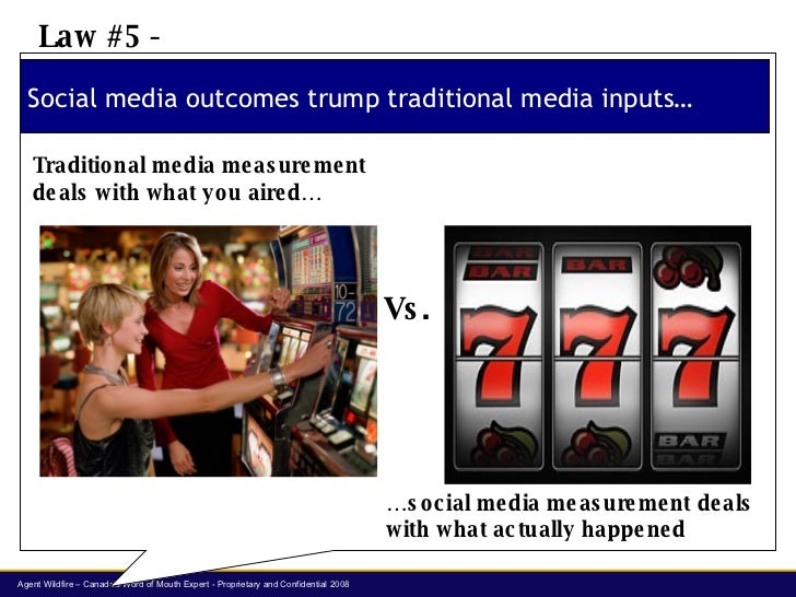 Social media outcomes trump traditional media inputs… Law #5 -  Traditional media measurement deals with what you aired… …...