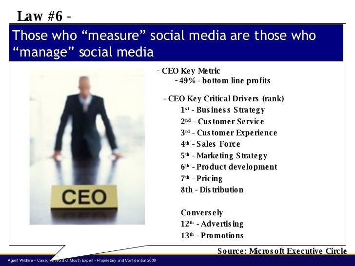 "Those who ""measure"" social media are those who ""manage"" social media Law #6 -  <ul><li>CEO Key Metric </li></ul><ul><ul><l..."