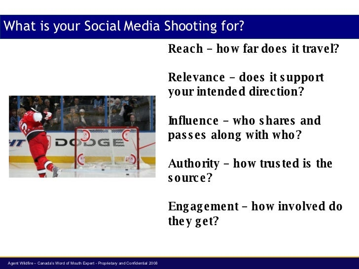 What is your Social Media Shooting for? Reach  – how far does it travel? Relevance  – does it support your intended direct...