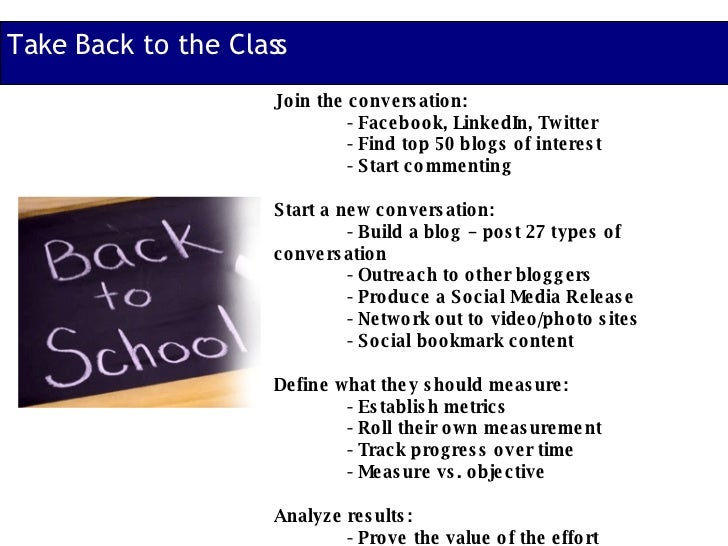 Take Back to the Class Join the conversation: - Facebook, LinkedIn, Twitter - Find top 50 blogs of interest - Start commen...