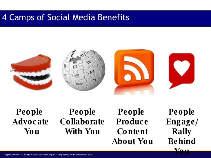 4 Camps of Social Media Benefits People  Produce Content About You People Engage/ Rally Behind You People Collaborate With...