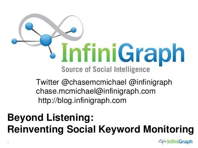 1 Twitter @chasemcmichael @infinigraph chase.mcmichael@infinigraph.com http://blog.infinigraph.com. Beyond Listening: Rein...