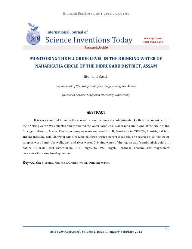 Jitumoni Borahet al., IJSIT, 2013, 2(1), 01-06     MONITORING THE FLUORIDE LEVEL IN THE DRINKING WATER OF         NAHARKAT...