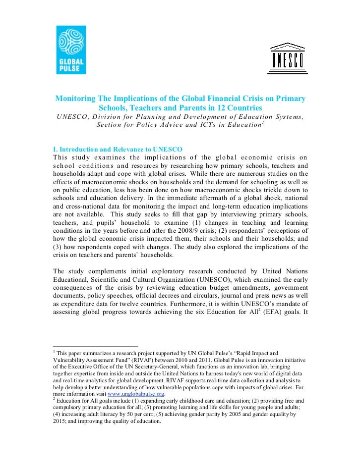 Monitoring The Implications of the Global Financial Crisis on Primary               Schools, Teachers and Parents in 12 Co...