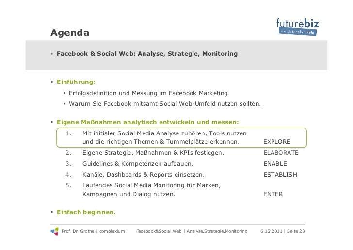 Agenda! Facebook & Social Web: Analyse, Strategie, Monitoring! Einführung:   ! Erfolgsdefinition und Messung im Faceboo...
