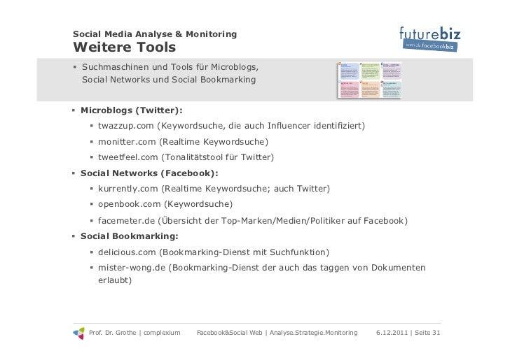 Social Media Analyse & MonitoringWeitere Tools! Suchmaschinen und Tools für Microblogs,   Social Networks und Social Book...