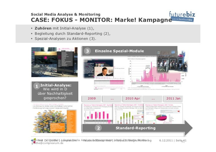 Social Media Analyse & MonitoringCASE: FOKUS - MONITOR: Marke! Kampagne! Zuhören mit Initial-Analyse (1),! Begleitung du...