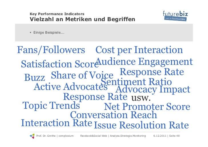 Key Performance Indicators  Vielzahl an Metriken und Begriffen  ! Einige Beispiele...Fans/Followers Cost per Interaction ...