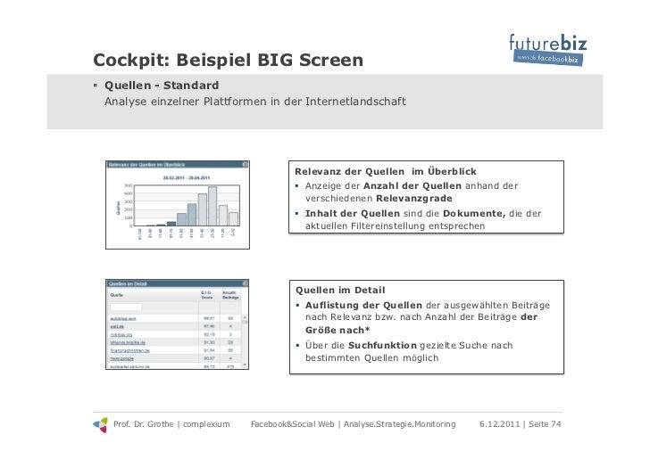 Cockpit: Beispiel BIG Screen! Quellen - Standard   Analyse einzelner Plattformen in der Internetlandschaft               ...