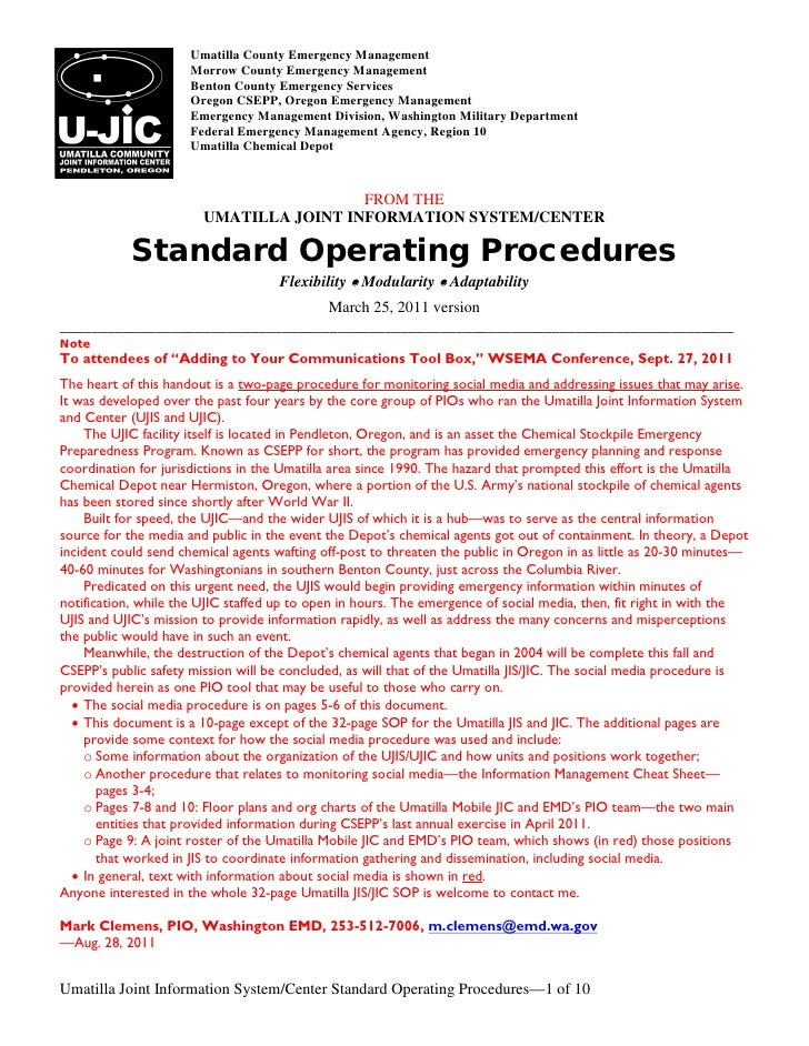 UMATILLA JOINT INFORMATION SYSTEM/CENTER - Standard Operating Procedu…