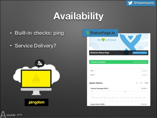 @tommoors  Availability •  Built-in checks: ping  •  Service Delivery?  aca-it.be - 2014